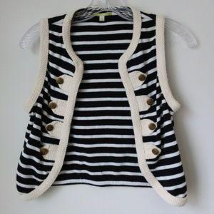 Gianni Bini   Black & White Open Nautical Vest
